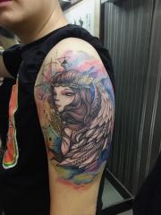 手臂天使泼墨水彩纹身图案
