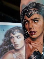 卡通彩色纹身动漫人物神奇女侠漫画纹身图案