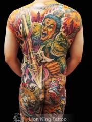 满背二郎神彩绘纹身图案
