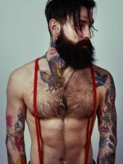 时尚欧美男人的花臂颈部纹身图案
