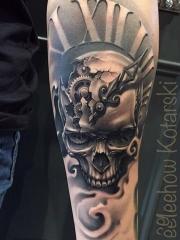 手臂骷髅机械时钟纹身图案
