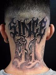 15款黑色象征自由纹身花体英文字纹身手字母图案