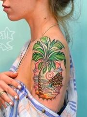 漂亮的彩色纹身动物和植物纹身小花朵纹身图案