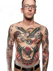 欧美男个性old school老鹰蛇骷髅纹身图案