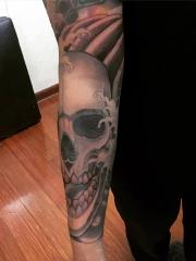 手臂酷炫的骷髅纹身图图案