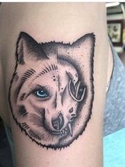 美女右手臂上黑色点刺纹身动物狐狸纹身图片