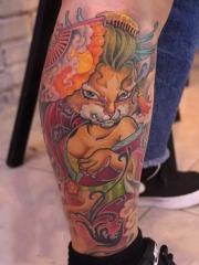 小腿猫咪艺妓卡通彩绘纹身图案