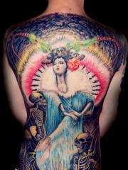 满背彩绘,花旦与骷髅纹身图案