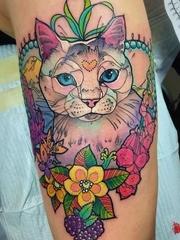 五颜六色的可爱动物图案纹身水彩风格