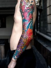 彩绘唐狮象神花蕊花臂纹身图案