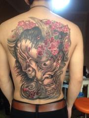 个性满背般若樱花纹身图案