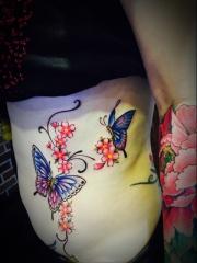 腰部美丽的蝴蝶与花蕊彩绘纹身图案