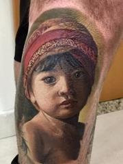 12款超现实主义彩色纹身水彩人物肖像纹身图案