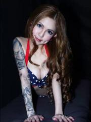 妩媚性感美女花臂般若纹身图案