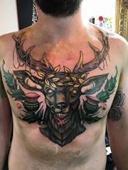 男性时尚纹身彩色霸气的新传统纹身动物图案纹身