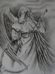 黑灰死神纹身图案手稿