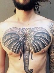 很霸气很精美的正面大象纹身图案