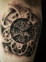 手臂内侧3d时钟纹身图案