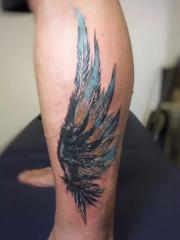 小腿好看的翅膀彩绘纹身图案