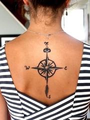 让自己能时刻找到方向的指南针纹身图案