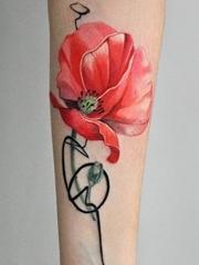 女生中国风花卉泼墨纹身图案
