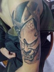 大臂恶鬼般若纹身图案