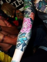 彩色的植物藤花朵纹身动物满臂花臂纹身图案大全