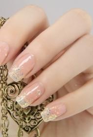 简单的亮片长指甲法式美甲图片