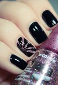 黑色搭配粉色亮片指甲油短指甲美甲