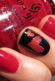 红色爱心美甲图案彩绘美甲图片