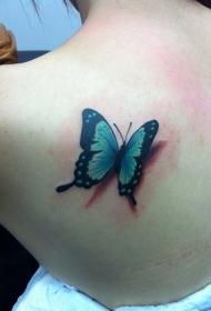 后背美丽的3D彩绘蝴蝶纹身图案