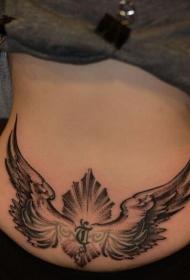 女性臀部翅膀梵文图腾纹身图案