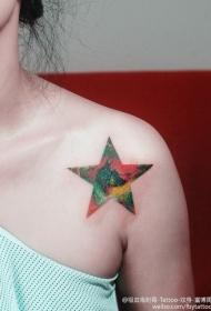 锁骨旁梦幻的星星纹身图案