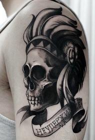 手臂黑灰字母骷髅印第安纹身图案