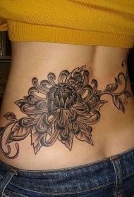 女性黑灰菊花纹身图案
