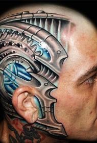 头部科幻风机械战甲个性纹身图案