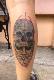 腿部黑白点刺纹身人物肖像纹身和骷髅头纹身图片