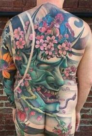 男性满背樱花般若彩绘纹身图案