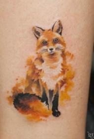 26款彩色狐狸纹身简单线条纹身水彩小动物纹身图案