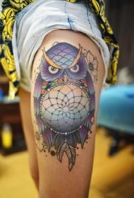 大腿猫头鹰捕梦网彩绘纹身图案