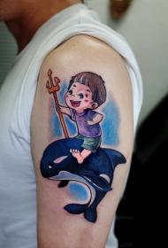 手臂小孩鲸鱼卡通彩色纹身图案