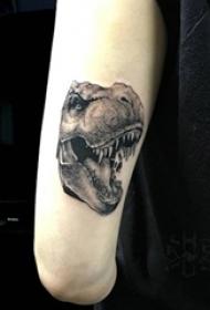 黑色的点刺纹身素描技巧骷髅头纹身动物恐龙纹身图案
