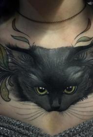 胸部猫咪彩绘写实纹身图案