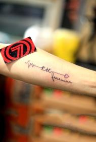 手臂汉字心形与心电图纹身图案