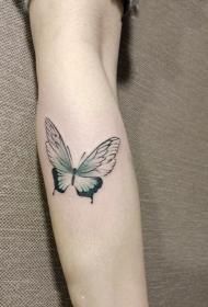 小腿小清新蝴蝶纹身图案