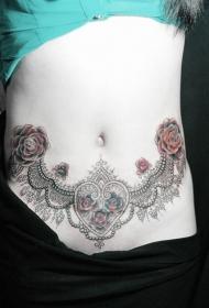 性感蕾丝玫瑰个性腹部纹身图案