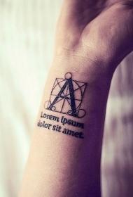 手腕字母几何图腾纹身图案