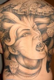 满背凶悍的美杜莎纹身图案图案