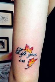 女生手臂英文与枫叶唯美纹身图案