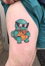 腿部彩色纹身杰尼龟纹身动漫人物的纹身图片